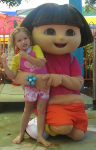 Small meets Dora the Explorer at White Water World