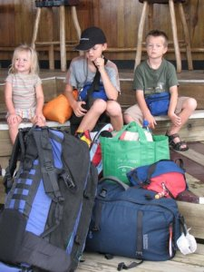 The sum total of our possessions: three kids and 11 bags (not all pictured.)